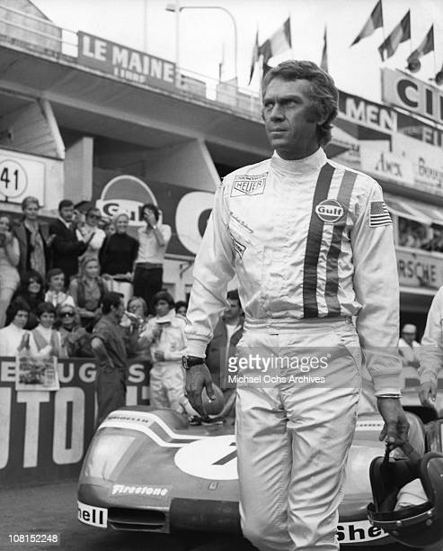 Actor Steve McQueen wears his Tag Heuer Monaco watch in a scene from the movie 'Le Mans in 1971 in Le Mans, France.