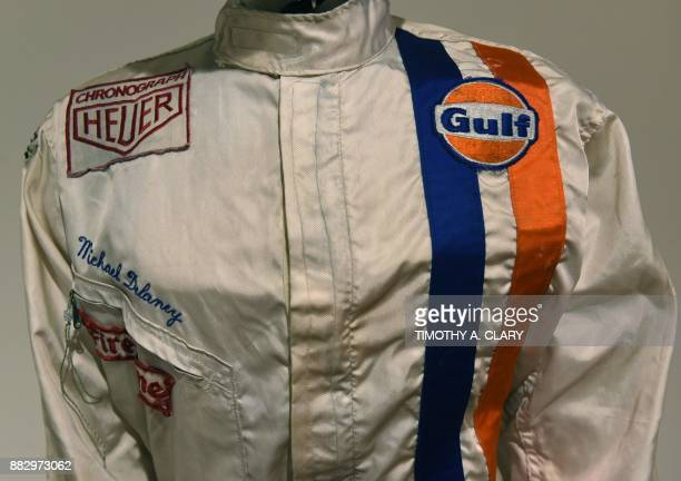 US actor Steve McQueen's racing suit worn in the movie 'Le Mans is viewed during the media preview November 30 for Sothebys inaugural Life of Luxury...