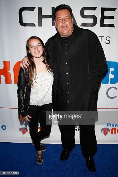 Actor Steve Schirripa and daughter Ciara Schirripa attend the Boston Celtics vs the New York Knicks 2013 Playoff game two at Madison Square Garden on...
