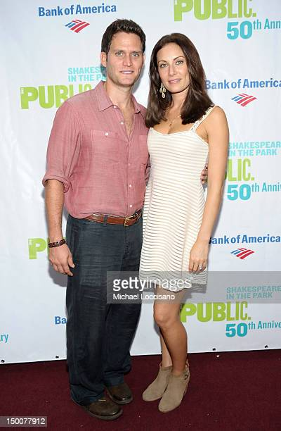 """Actor Steven Pasquale and actress Laura Benanti attend """"Into The Woods"""" opening night celebration at the Delacorte Theater on August 9, 2012 in New..."""