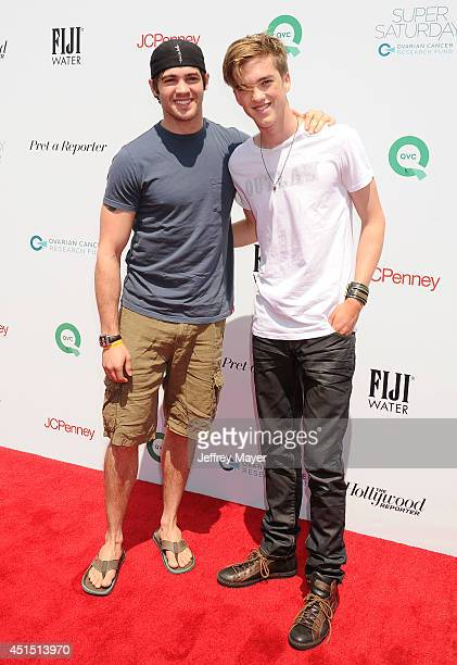 Actor Steven R McQueen and singer Jessarae Robitaille arrive at the Ovarian Cancer Research Fund's Inaugural Super Saturday LA event at Barker Hangar...