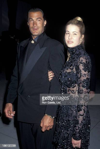 Actor Steven Seagal and Arissa Wolf attending 67th Annual Academy Awards on March 27 1995 at the Shrine Auditorium in Los Angeles California