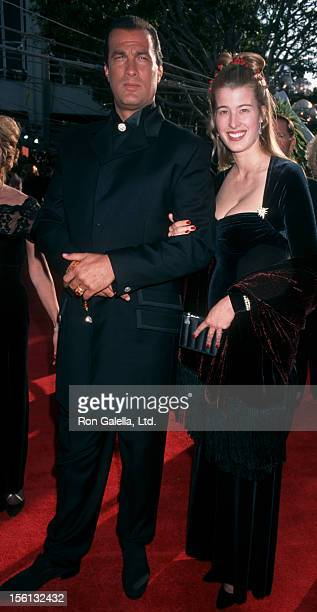 Actor Steven Seagal and Arissa Wolf attending 68th Annual Academy Awards on March 25 1996 at the Dorothy Chandler Pavilion in Los Angeles California