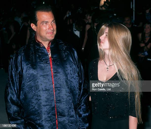 Actor Steven Seagal and Arissa Wolf attending Fourth Annual Vanity Fair Oscar Party on March 24 1997 at Morton's Restaurant in West Hollywood...