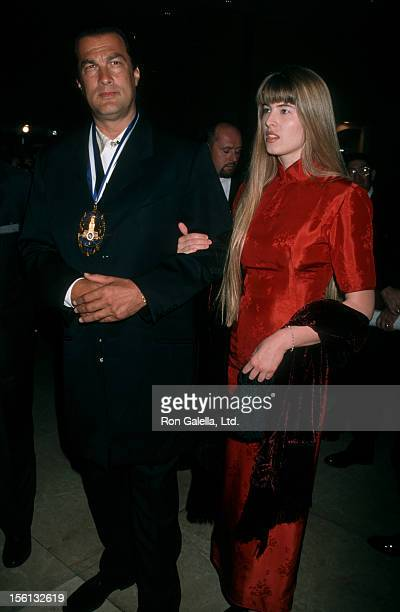 Actor Steven Seagal and Arissa Wolf attending 'LAPD Jack Webb Awards Gala' on October 1 1998 at the Beverly Hilton Hotel in Beverly Hills California