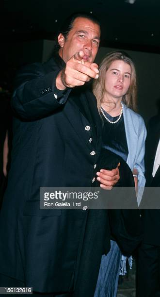 Actor Steven Seagal and Arissa Wolf attending 'One Giant Leap for Humanity Benefit' on September 25 1999 at Griffith Park in Los Angeles California