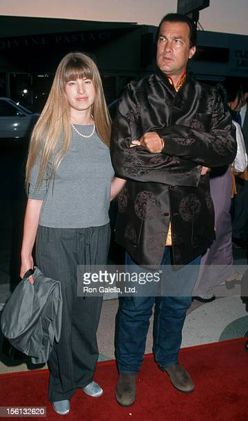 Actor Steven Seagal and Arissa Wolf attending the premiere of 'Free Tibet' on September 9 1998 at the Showcase Theater in Hollywood California