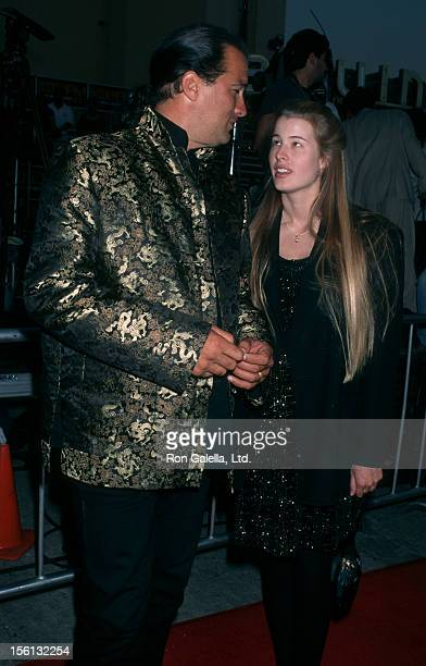 Actor Steven Seagal and Arissa Wolfe attending the premiere of 'Mission Impossible' on May 20 1996 at Mann Bruin Theater in Westwood California