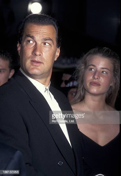 Actor Steven Seagal and Arissa Wolfe attending the world premiere of 'Under Siege 2Dark Territory' on July 10 1995 at Mann Chinese Theater in...