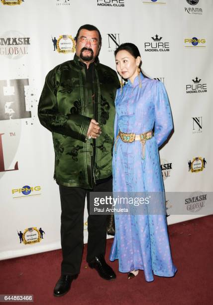 Actor Steven Seagal and his Wife Erdenetuya Seagal attend the SMASH Global V pre-Oscar fight at Taglyan Complex on February 23, 2017 in Los Angeles,...