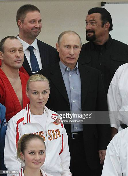 S actor Steven Seagal and Russian President Vladimir Putin are seen visiting Sambo70 a Russian martial art and combat sport school March 13 2013 in...