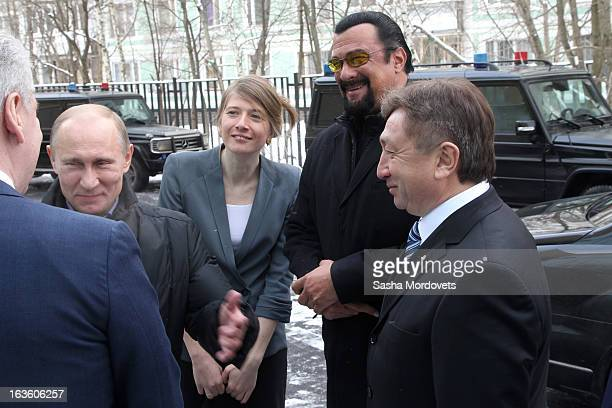 S actor Steven Seagal and Russian President Vladimir Putin visit Sambo70 a Russian martial art and combat sport school March 13 2013 in Moscow Russia...