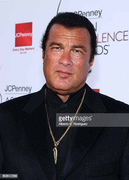 Actor Steven Seagal arrives at the 2008 JCPenney Asian Excellence Awards on April 23 2008 in Los Angeles California