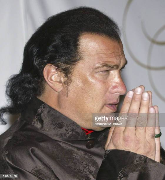 Actor Steven Seagal attends the fund raiser for the Ray Charles Performing Arts Center at the Beverly Hilton Hotel on September 29 2004 in Beverly...