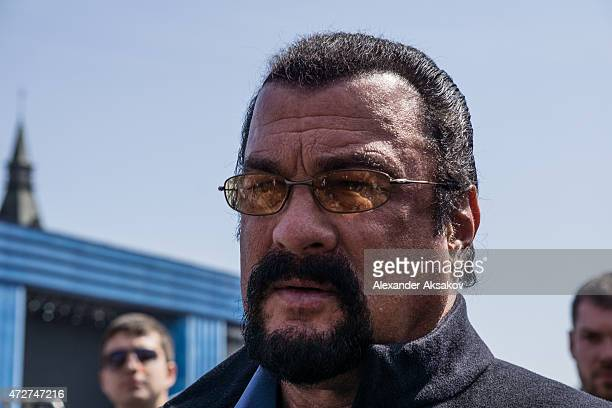Actor Steven Seagal attends the Victory Parade which is a part of celebrations marking the 70th anniversary of the victory over Nazi Germany and the...