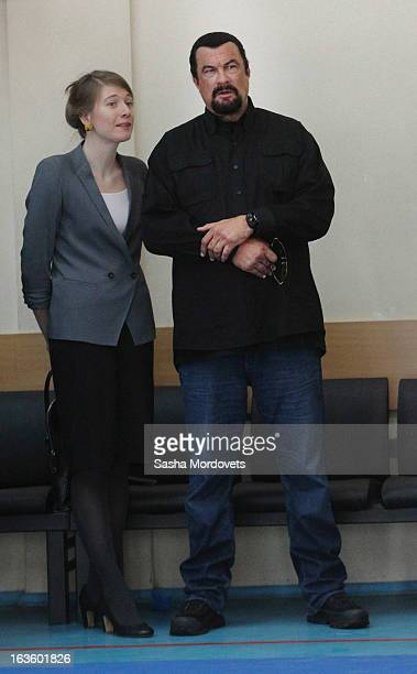 S actor Steven Seagal is seen visiting Sambo70 a Russian martial art and combat sport school March 13 2013 in Moscow Russia