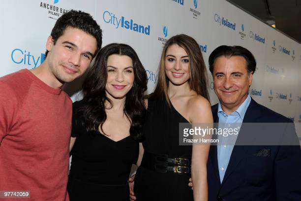 Actor Steven Strait actress Julianna Margulies actress Dominik GarciaLorido and actor Andy Garcia arrive at Anchor Bay Films' City Island premiere...