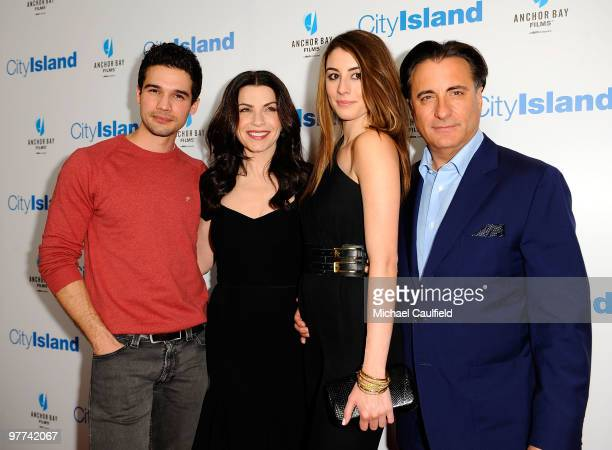 Actor Steven Strait actress Julianna Margulies actress Dominik GarciaLorido and actor Andy Garcia arrive at the Los Angeles premiere of City Island...