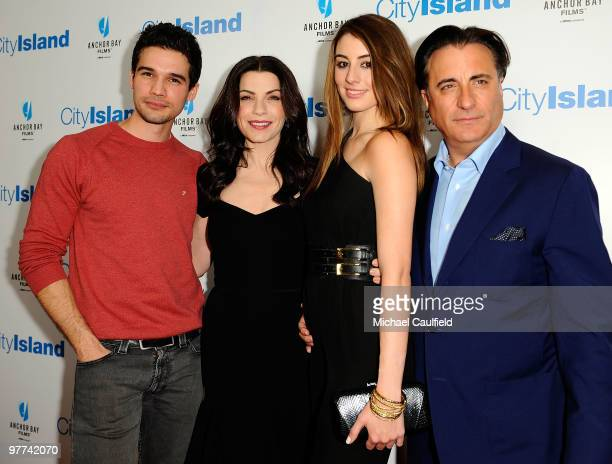 Actor Steven Strait actress Julianna Margulies actress Dominik GarciaLorido and actor Andy Garcia arrive at the Los Angeles premiere of 'City Island'...