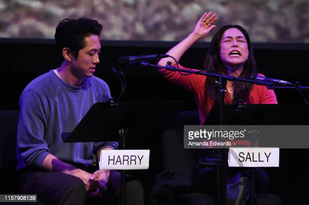 Actor Steven Yeun and actress Maya Erskine attend Film Independent's Live Read of When Harry Met Sally at the Wallis Annenberg Center for the...