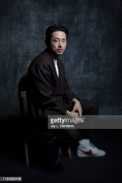 Actor Steven Yeun from 'The Twilight Zone' is photographed for Los Angeles Times on March 24 2019 during PaleyFest at the Dolby Theatre in Hollywood...