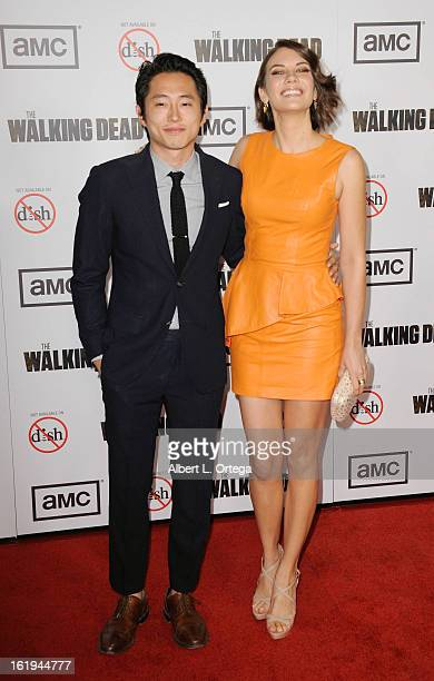 "Actor Steven Yuen and actress Lauren Cohan arrive for AMC's ""The Walking Dead"" Season 3 Premiere held at AMC Universal Citywalk Stadium 19 on October..."