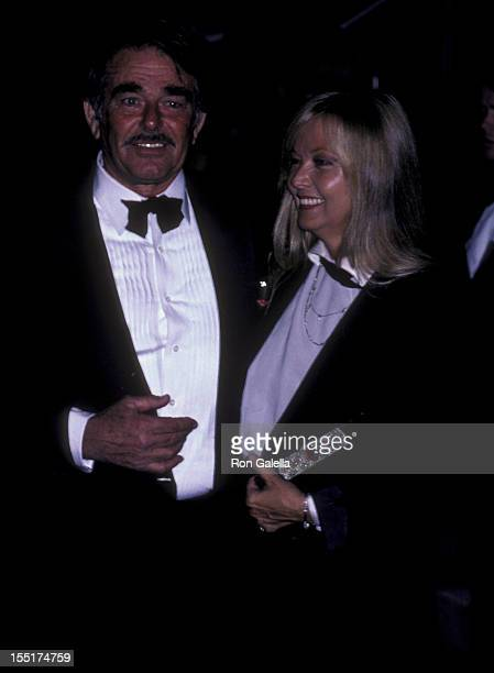 Actor Stuart Whitman and wife Caroline Boubis attend the premiere party for Blue Thunder on April 13 1983 at the Beverly Hilton Hotel in Beverly...
