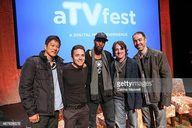 Actor Sung Kang producer Robert Munic actor RZA executive producer Scott Rosenbaum and executive producer Chris Morgan pose after a panel discussion...