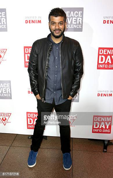 Actor Sunkrish Bala attends the GUESS Foundation and Peace Over Violence Denim Day Cocktail Event at at MOCA Grand Avenue on March 22 2016 in Los...