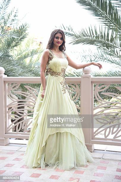 Actor Surveen Chawla is photographed at the 11th Annual Dubai International Film Festival held at the Madinat Jumeriah Complex on December 12 2014 in...