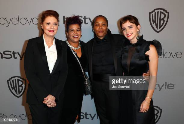 Actor Susan Sarandon activists Rosa Clemente and Marai Larasi and actor Emma Watson attend the 2018 InStyle and Warner Bros 75th Annual Golden Globe...