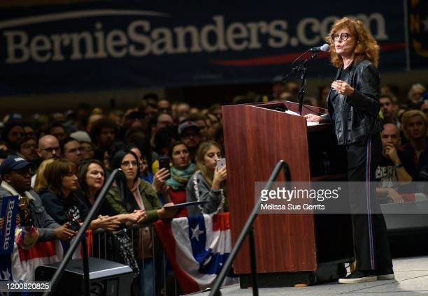 Actor Susan Sarandon addresses supporters at a rally for Bernie Sanders on February 14 2020 in Durham North Carolina Sanders was greeted by thousands...