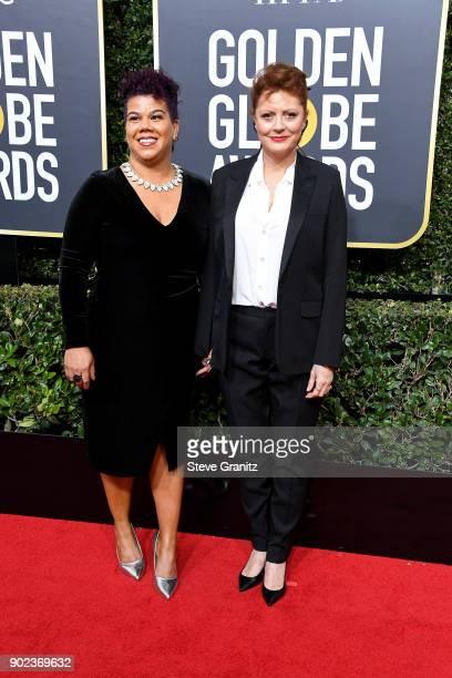 Actor Susan Sarandon and activist Rosa Clemente attend The 75th Annual Golden Globe Awards at The Beverly Hilton Hotel on January 7 2018 in Beverly...
