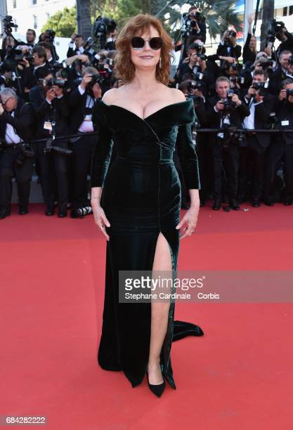 Actor Susan Sarandon attends the Ismael's Ghosts screening and Opening Gala during the 70th annual Cannes Film Festival at Palais des Festivals on...