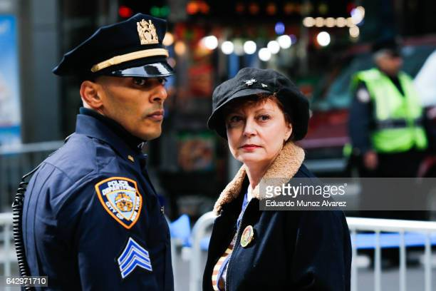 Actor Susan Sarandon takes part in a rally dubbed I Am A Muslim Too in a show of solidarity with American Muslims at Times Square on February 19 2017...
