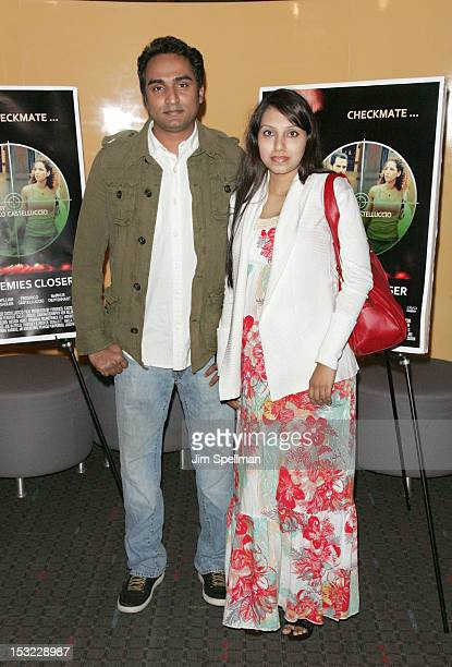 Actor Syed Soffain and wife attend the 'Keep Your Enemies Closer Checkmate' screening at the School of Visual Arts Theater on October 1 2012 in New...