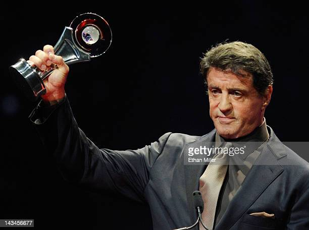 Actor Sylvester Stallone accepts the Career Achievement Award at the CinemaCon awards ceremony at The Colosseum at Caesars Palace during CinemaCon...