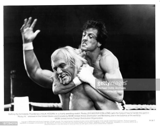 Actor Sylvester Stallone and actor Hulk Hogan on set of the MGM/United Artist movie 'Rocky III' in 1982