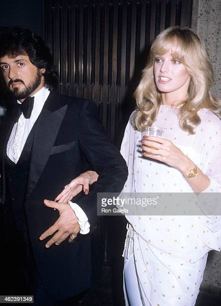 Actor Sylvester Stallone and actress Susan Anton attend the Opening Night Exhibition of Andy Warhol's Silkscreens 'Andy Warhol Portraits of the 70's'...