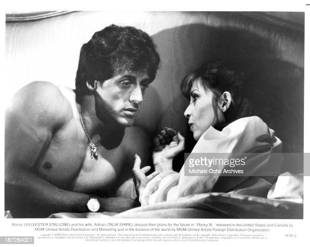 Actor Sylvester Stallone and actress Talia Shire on set of the MGM/United Artist movie Rocky III in 1982