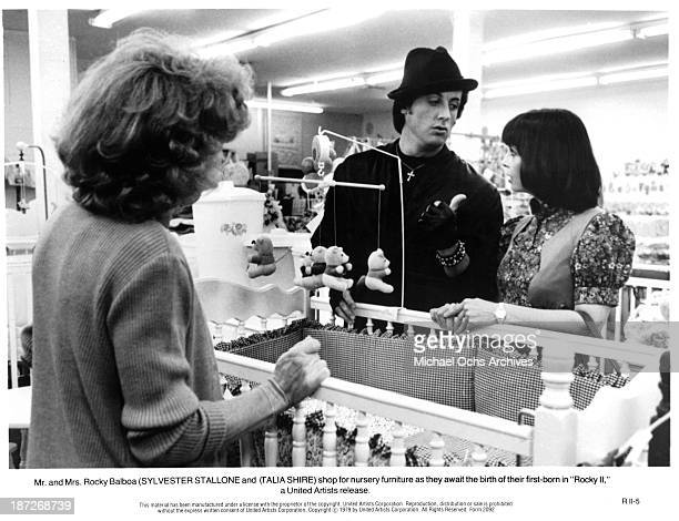 Actor Sylvester Stallone and actress Talia Shire on set of the United Artist movie Rocky II in 1979