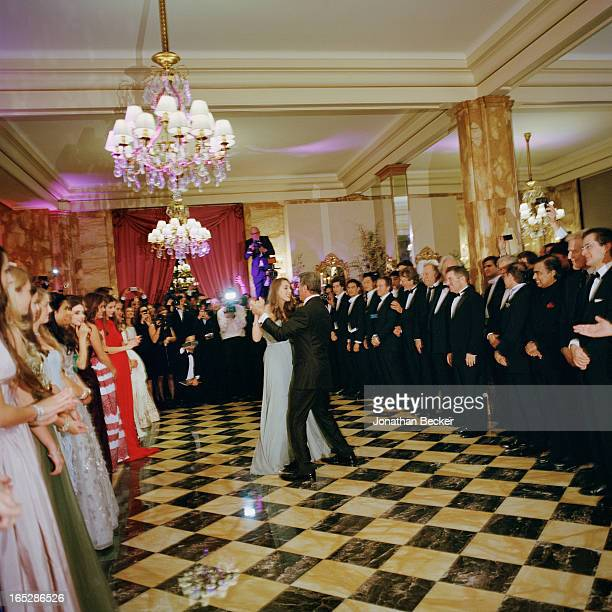 Actor Sylvester Stallone and daughter Sophia Rose Stallone are photographed dancing at the Crillon Debutante Ball for Vanity Fair Magazine on...