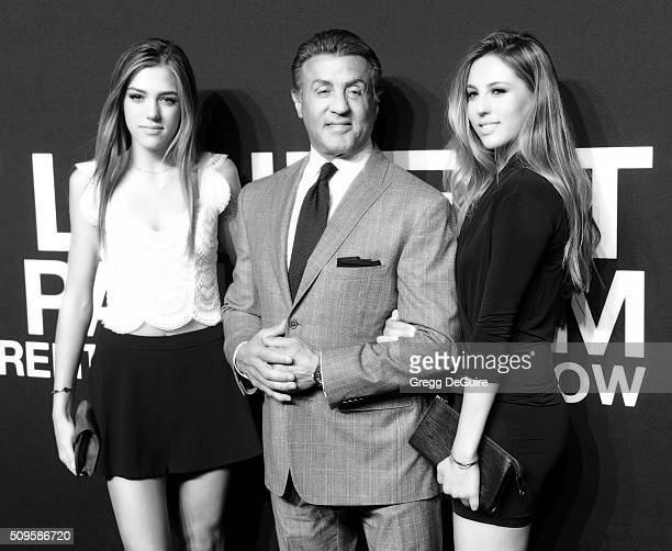 Actor Sylvester Stallone and daughters Sistene Stallone and Sophia Stallone attend the Saint Laurent show at The Hollywood Palladium on February 10...