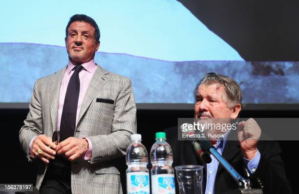 Actor Sylvester Stallone and director Walter Hill attend the 'Bullet To The Head' Press Conference during the 7th Rome Film Festival at the...