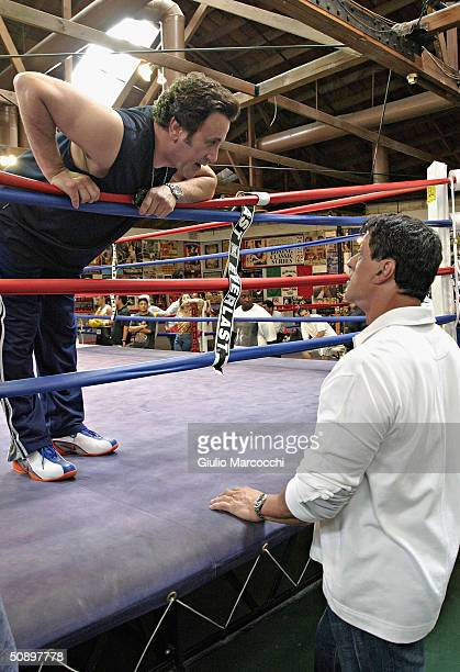 Actor Sylvester Stallone and Frank Stallone attend the Casting Call For The Unscripted Drama 'The Contender' on May 25 2004 at La Brea Boxing in Los...