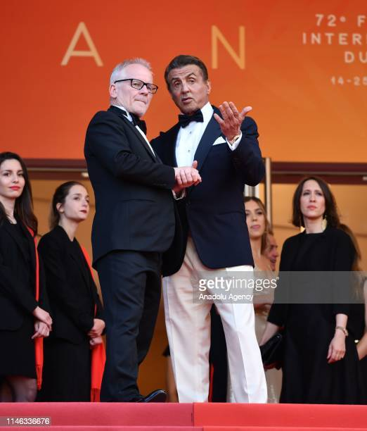 US actor Sylvester Stallone and General Delegate of the Cannes Film Festival Thierry Fremaux arrive for the Closing Awards Ceremony of the 72nd...