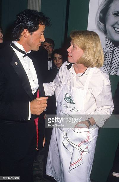 Actor Sylvester Stallone and gossip columnist Liz Smith attend the First Annual Gourmet Gala to Benefit the Greater New York March of Dimes Birth...