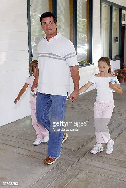 Actor Sylvester Stallone and his daughters attend the 14th Annual Hollywood Charity Horse Show on May 1 2004 at the Los Angeles Equestrian Center in...
