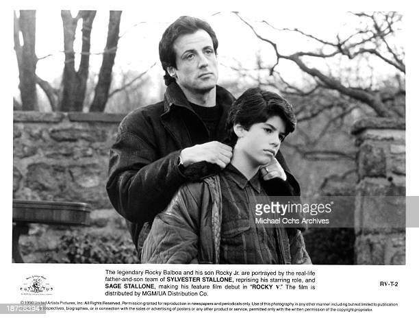 Actor Sylvester Stallone and his son actor Sage Stallone on set of the MGM/UA movie Rocky V in 1990