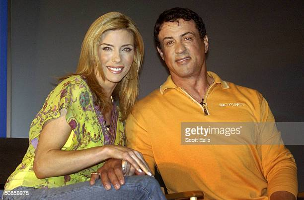 Actor Sylvester Stallone and his wife Jennifer Flavin launch a new nutritional product line called 'Instone' May 19 2004 in New York City Stallone...